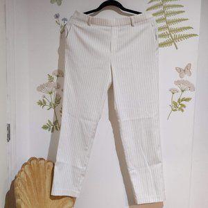 UNIQLO White pinstripe pants ankle length